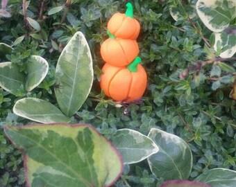 Miniature fairy garden stacked pumpkins, dollhouse pumpkin patch, fairy garden pumpkins,  3 stacked pumpkins, fall fairy accessories