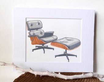 EAMES LOUNGE and OTTOMAN  block print