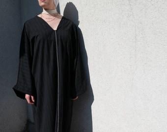 Black Kaftan with white stripes/ Black/White Pin Stripe Kaftan Dress/ Moroccan Kaftan/ Abaya Embroidery
