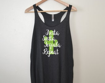 Fiesta Siesta Tequila Repeat Bachelorette Party Tanks. Cactus Tank. Bridesmaid Gift. Bridesmaid Tank. Bridal Party Tank. Bride Tank