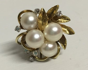 Vintage Pearl and Diamond Ring- 14 Karat Yellow Gold- Finger Sz 4.75