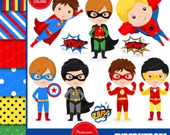 Superhero clipart, superheroes boy, superhero boy clipart, superman clipart, superhero costume, superheroes - CL127