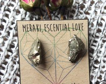 Pyrite Earrings. Raw Pyrite Earring Studs. Fools Gold Earrings.