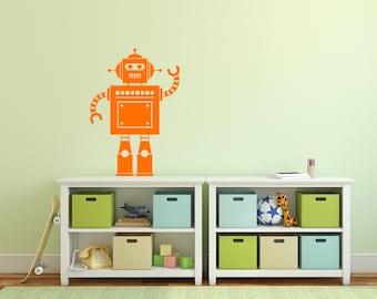 Robot Wall Sticker Vinyl Decal Child's Bedroom Wall Art Playroom Robot Decal