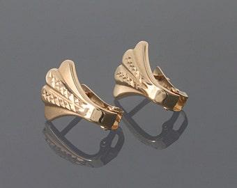 Woman gold earrings, 14k gold earrings, Unique gold earrings, Clip on earrings, Small gold earrings, Shell earrings