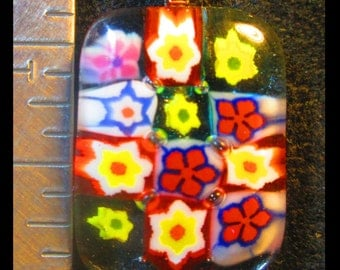 Millefiori Fused Glass Pendant
