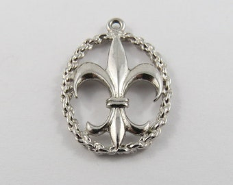 French Fleur De Lys Sterling Silver Charm or Pendant.