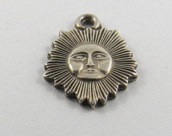 Sun with an Angry Face Sterling Silver Charm or Pendant.