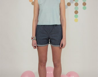 sleeveless cotton shirt, light blue blouse with frill on neck
