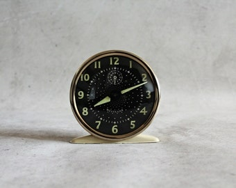 Vintage alarm clock, Westclox, made in Scotland, light beige gold black clock