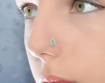 emerald nose stud etsy