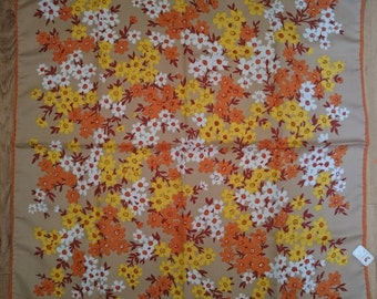 Vintage Square Italian Scarf - Retro with Flowers - Unused and Perfect From 1970s Stock