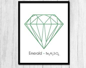 Emerald Art Digital Download Gemstone Art Emerald Print Printable Art Gemstone Print Digital Prints Green Print Gem Art Gem Print Birthstone