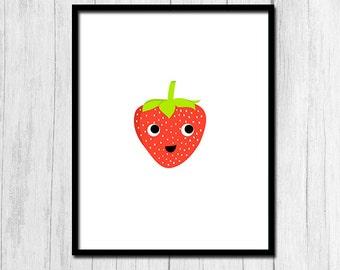 Strawberry Print Cute Kids Art Digital Download Kitchen Printable Kitchen Art Food Art Strawberry Art Kids Room Decor Fruit Printable Art