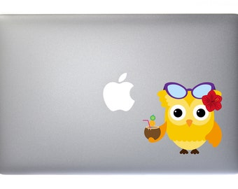 Cute Summer Owl - Full Color Vinyl Decal For Macbook, Laptop, or other accessories
