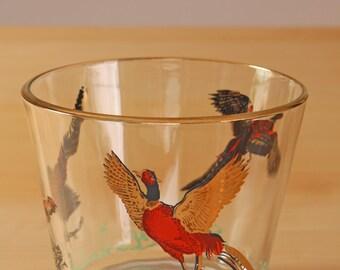 Vintage Hazel atlas wild  pheasants ice bucket red and gold