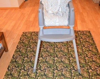 Camo Splat Mat / Art  Mat - Baby High Chair Washable Protection - Choose Your Patttern