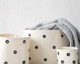 Set of 3 cotton canvas storage baskets. Black polka dot nursery decor. White toy bin. Toy box. Bathroom storage. Bohemian home decor. Boho