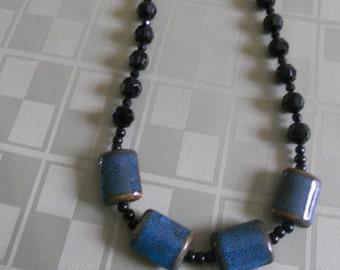 Black bead and aqua puff rectangle necklace
