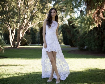 Illusion Lace Open Back Wedding Dress, Hi-Low Wedding Dress, Short Wedding Dress in French Lace - Olivia Dress