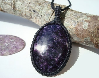 Lepidolite Necklace/Inner Child/Lepidolite Pendant/PLAY PLAY PLAY/Embracing Emotions/Purple Stone/Lepidolite Macrame/Crystal Necklace/Gaia:)