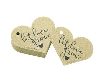 Let Love Grow Tags, Rustic Heart Tags, Rustic Wedding Tags, Wedding Favor Tags, Rustic Favor Tags, Cream, White, Ivory, Brown Kraft Tag T071