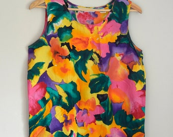 Floral Watercolour Silk Tank Top