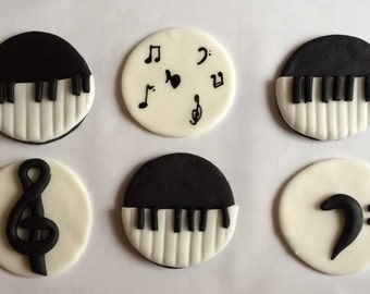Music themed Edible cupcake toppers