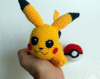 Baby Pikachu Pokemon Plush With Pokeball Crochet Toy Pikachu plush toy Pokeball chibi plush Pokemon gift Pokeball gift  MADE TO ORDER