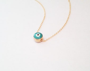 Turquoise Evil Eye Necklace, Evil Eye Jewelry, White Evil Eye, Protection, Gift for Her, Turkish Nazar Necklace, Layered Necklace / N105x