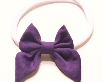Sailor Bow Headband,Baby Headband, Baby Girl Headband, Baby Girl Bow, Purple Headband, Toddler Headband, Infant Headband, Newborn Headband