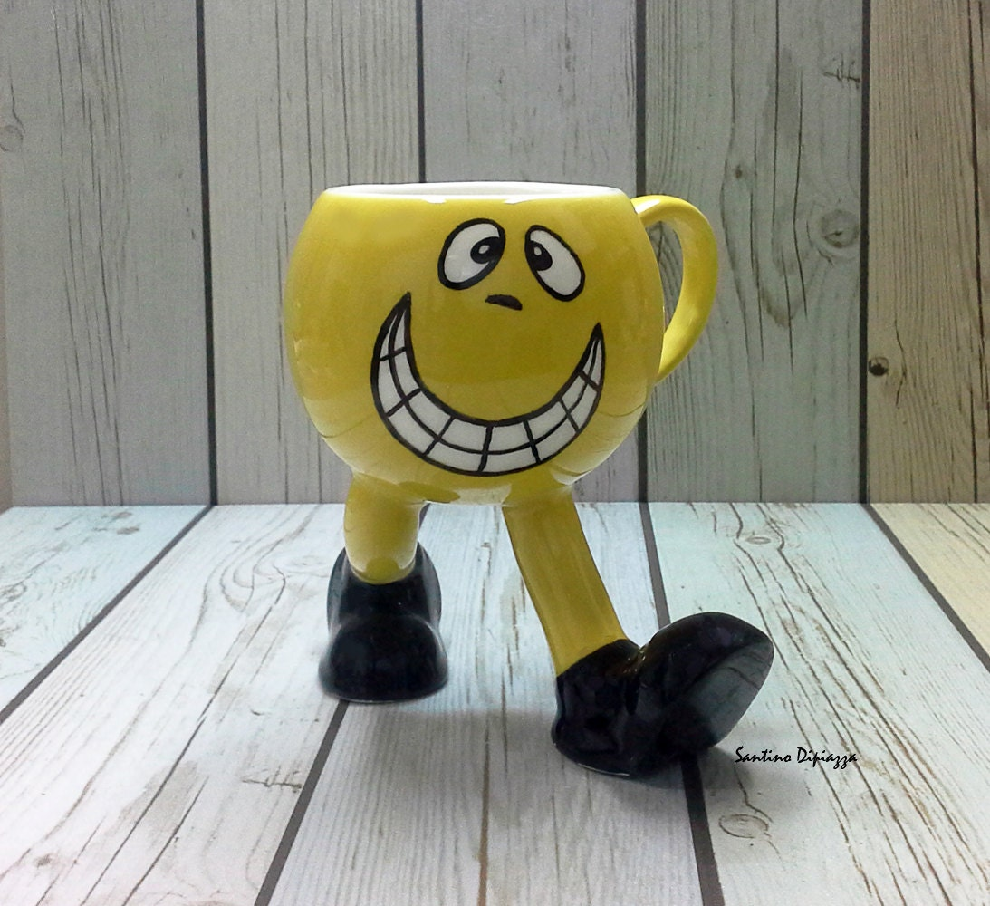 funny emoji mug office mug face cup on legs yellow coffee. Black Bedroom Furniture Sets. Home Design Ideas