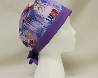 Lumpy Space Princess Adventure Time Purple Surgical Dental Scrub Cap Chemo Hat