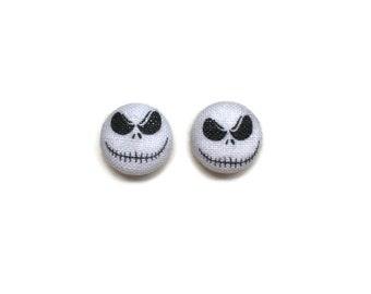 Jack Skellington Earrings The Nightmare Before Christmas Disney Inspired Fabric Earrings