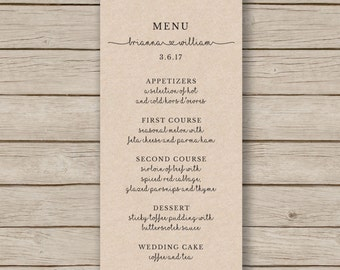 Rustic Wedding Menu Template - Printable Wedding Menu - Editable by YOU in WORD - print on Kraft card