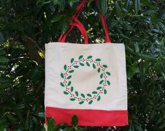 Christmas Bag, Christmas Wreath, Holly Berry, Reusable Tote Bag, Eco Friendly Bag, Shopping Bag, Holly Leaves