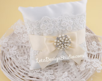 Ivory Ring Bearer Pillow Wedding Ring Cushion Rhinestone Crystal Brooch Lace Ring pillow Bridal Ring  Pillow Ivory wedding Pearl wedding