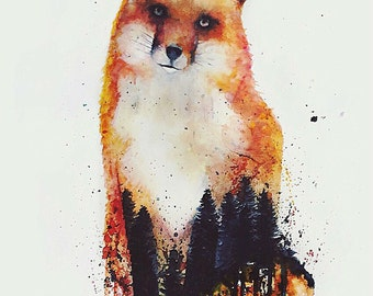 Red Fox Portrait Print FREE SHIPPING IN U.S.A