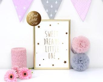 "Gold Foil Poster ""Sweet Dreams Little One"", Gold Foil, Typography, Kids Wall Art, Nursery Room Poster, Kids Room Decor, Kids Room Poster."