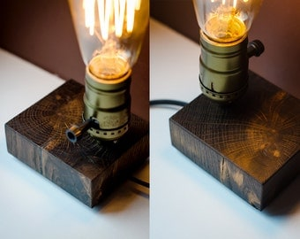 edison lamp XS#61 handmade. wooden lamp. wood lamp. table lamp. desk lamp. nightlight. bedside light. dark wood. bog oak