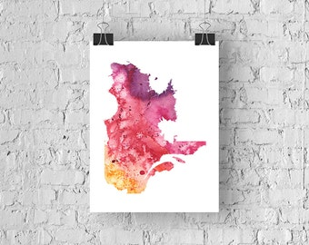 Quebec Watercolour Map - Giclée Print of Hand Painted Original Art - 5 Colours to Choose From