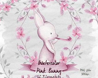 watercolor Pink bunny, woodland pink rabbit, baby shower invite, birthday invitation, baby shower clipart, watercolor Papers.