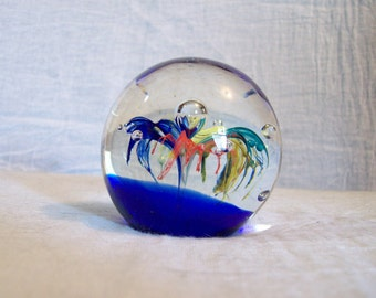 Collectible Hand Blown Glass Paperweight Blue Yellow Red/Orange Teal Fireworks Fountain Latticino Bubbles Cobalt Blue Base Vintage Giftable