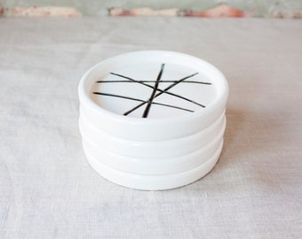 Black and White Drink Coasters - Set of 4 by Barombi Studios