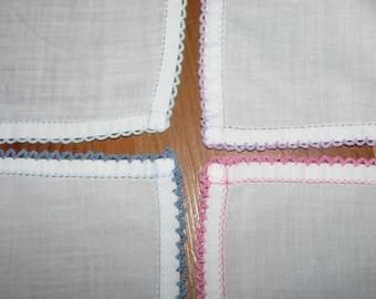 4 Vintage HANDKERCHIEF crochet edge SET of 4 elegant RETRO hanky