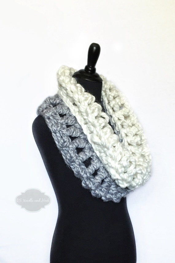 Grey and White Crochet Scarf, Chunky Soft Cowl, Silver Gray Infinity Scarf, Cream Handmade Shoulder Wrap, Grey Neck Warmer, Two Tone Snood,