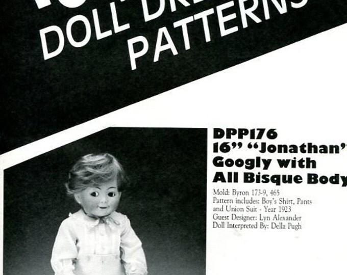 "FREE US SHIP Poissot Doll Dress Pattern dpp176 16"" Jonathan Googly 1991 Insert From Dollcrafter Vintage Magazine"