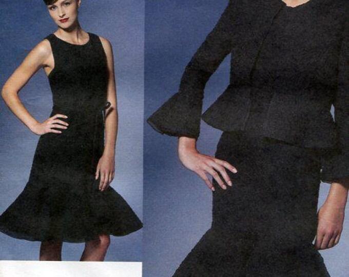 Vogue 1269 Free Us Ship Sewing Pattern Chado Ralph Rucci Flounce Dress Peplum Jacket Out of Print Size 6 8 10 12 Bust 30 32 34