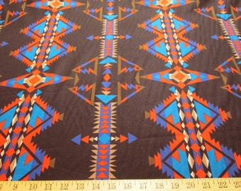 "Southwestern Native American Aztec Print on Black, 54"" Wide, Out of Print, 100% Cotton, Sold by the Yard"