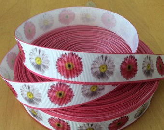 "Gerber Daisy Grosgrain Ribbon - 7/8"", Flower Printed Ribbon, Gerber ribbons, gerber daisy ribbons, spring flower ribbons"